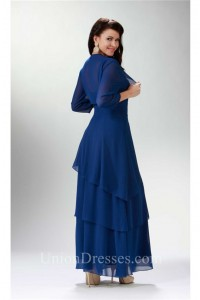 Glamour Strap Royal Blue Chiffon Tiered Formal Mother Evening Dress Bolero Jacket