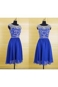 Gorgeous A Line Bateau Neck Short Royal Blue Chiffon Beaded Prom Dress