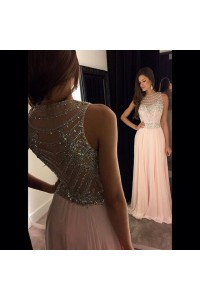 Gorgeous A Line Sheer Neckline Long Blush Pink Chiffon Beaded Prom Dress
