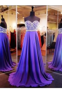 Gorgeous A Line Strapless Long Purple Chiffon Beaded Prom Dress