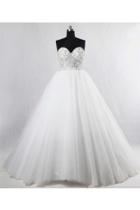 Gorgeous Ball Gown Sweetheart Corset Back Tulle Beaded Crystal Wedding Dress