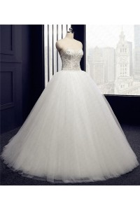 Gorgeous Ball Gown Sweetheart Tulle Satin Beaded Wedding Dress Corset Back