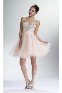 Gorgeous Ball Strapless Short Blush Pink Tulle Beaded Cocktail Prom Dress