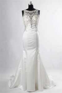 Gorgeous Mermaid Boat Neck Satin Tulle Beaded Wedding Dress With Buttons
