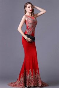 Gorgeous Mermaid Illusion Neckline Red Satin Gold Lace Applique Special Occasion Evening Dress