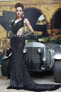 Gorgeous Mermaid Side CutOuts Backless Black Tulle Sequin Special Occasion Evening Dress With Train
