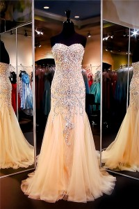 Gorgeous Mermaid Sweetheart Champagne Tulle Beaded Special Occasion Prom Dress