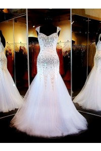 Gorgeous Mermaid Sweetheart Low Back White Tulle Beaded Prom Dress With Straps
