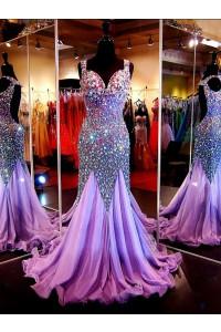 Gorgeous Mermaid Sweetheart Open Back Lilac Chiffon Tulle Heavy Beaded Prom Dress