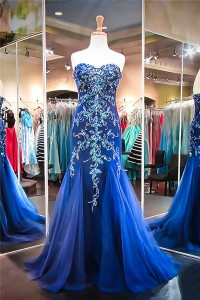 Gorgeous Mermaid Sweetheart Royal Blue Tulle Beaded Prom Dress