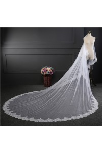 Gorgeous Two tieres Tulle Lace Sequined Wedding Bridal Cathedral Veil