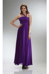 Graceful Asymmetrical Strap Long Purple Chiffon Ruched Bridesmaid Dress