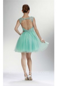 Graceful Cap Sleeve Open Back Short Mint Green Tulle Beaded Prom Dress