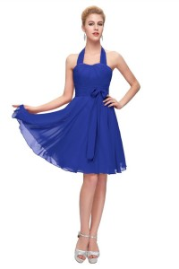 Graceful Halter Corset Short Royal Blue Chiffon Party Bridesmaid Dress With Sash