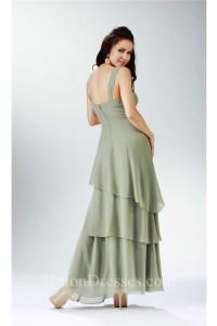 Graceful Strap Sage Chiffon Tiered Formal Mother Evening Dress Bolero Jacket