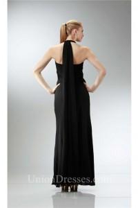 Halter Empire Waist Long Black Chiffon Ruched Bridesmaid Evening Dress