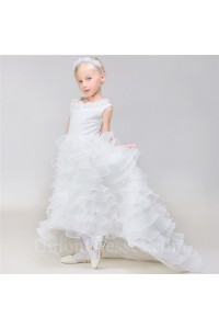 High Low Organza Ruffle Tiered Little Girl Wedding Dress With Train