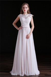 High Neck Cap Sleeve Open Back Floor Length Chiffon Lace Wedding Dress