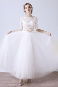 High Neck Lace Sleeve Tulle Outdoor Garden Boho Two Piece Wedding Dress