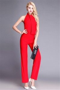 High Neck Open Back Red Jersey Special Occasion Evening Jumpsuit