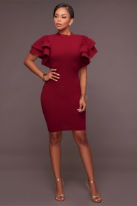 High Neck Ruffle Sleeve Short Burgundy Stretch Women Casual Dress