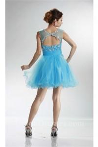 Illusion Neckline Open Back Short Sky Blue Tulle Beaded Prom Dress