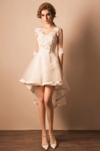 Informal Illusion Neckline Sheer Sleeve High Low Outdoor Beach Wedding Dress