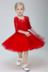 Lovely A Line Scoop Neck Red Tulle Lace Little Girl Dress With Sleeves