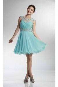 Lovely Ball Cap Sleeve Open Back Short Aqua Chiffon Beaded Prom Dress
