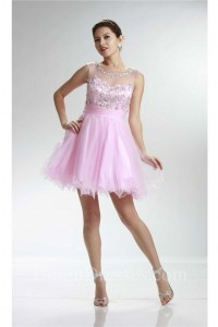 Lovely Ball Scoop Neck Cut Out Back Light Pink Tulle Beaded Prom Dress