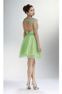 Lovely Cap Sleeve Open Back Short Lime Green Tulle Prom Dress