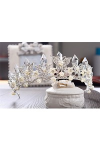 Lovely Crystal Pearl Wedding Bridal Tiara Crown Butterfly
