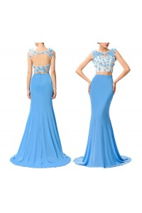 Lovely Mermaid Open Back Two Piece Blue Chiffon Prom Dress With Flowers