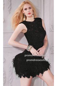 Lovely Open Back Short Mini Black Lace Feather Cocktail Prom Dress