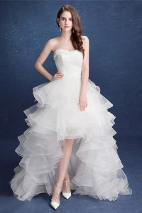 Lovely Strapless Organza Ruffle High Low Outdoor Wedding Dress Corset Back