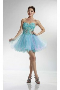 Lovely Sweetheart Short Turquoise And Pink Tulle Beaded Cocktail Prom Dress