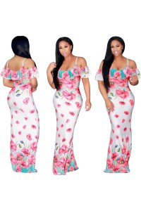 Mermaid Floral Printed Ruffle Maxi Dress With Straps