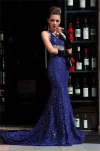 Mermaid Halter Backless Royal Blue Sequin Sparkly Special Occasion Evening Dress