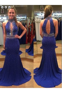 Mermaid High Neck Cut Out Keyhole Back Royal Blue Jersey Beaded Evening Prom Dress