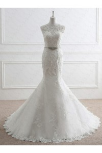 Mermaid High Neck Low Back Lace Beaded Wedding Dress With Crystals Belt