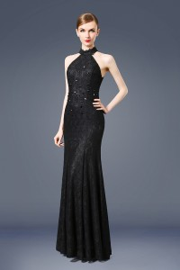 Mermaid High Neck See Through Back Black Lace Evening Prom Dress