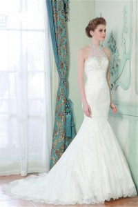 Mermaid High Neck Sheer Back Lace Beaded Wedding Dress With Pearls Buttons