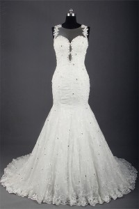 Mermaid Illusion Neckline See Through Back Lace Beaded Wedding Dress With Pearls