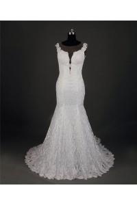 Mermaid Illusion Neckline Sheer Back Lace Wedding Dress With Chapel Train