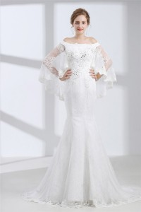Mermaid Off The Shoulder Corset Back Lace Wedding Dress With Shawl