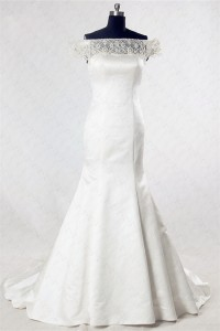 Mermaid Off The Shoulder Satin Tulle Beaded Wedding Dress With Buttons