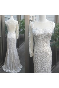 Mermaid One Sleeve Open Back Sequin Applique Beaded Prom Dress