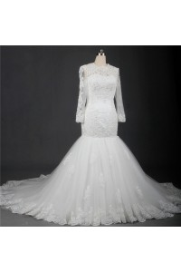 Mermaid Open Back Long Sleeve Tulle Lace Beaded Wedding Dress With Bow Sash