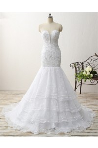 Mermaid Plunging Neckline Embroidery Organza Ruffle Layered Wedding Dress