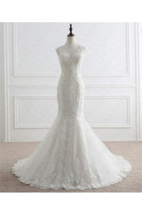 Mermaid Scalloped Neck Low Back Venice Lace Pearl Beaded Wedding Dress